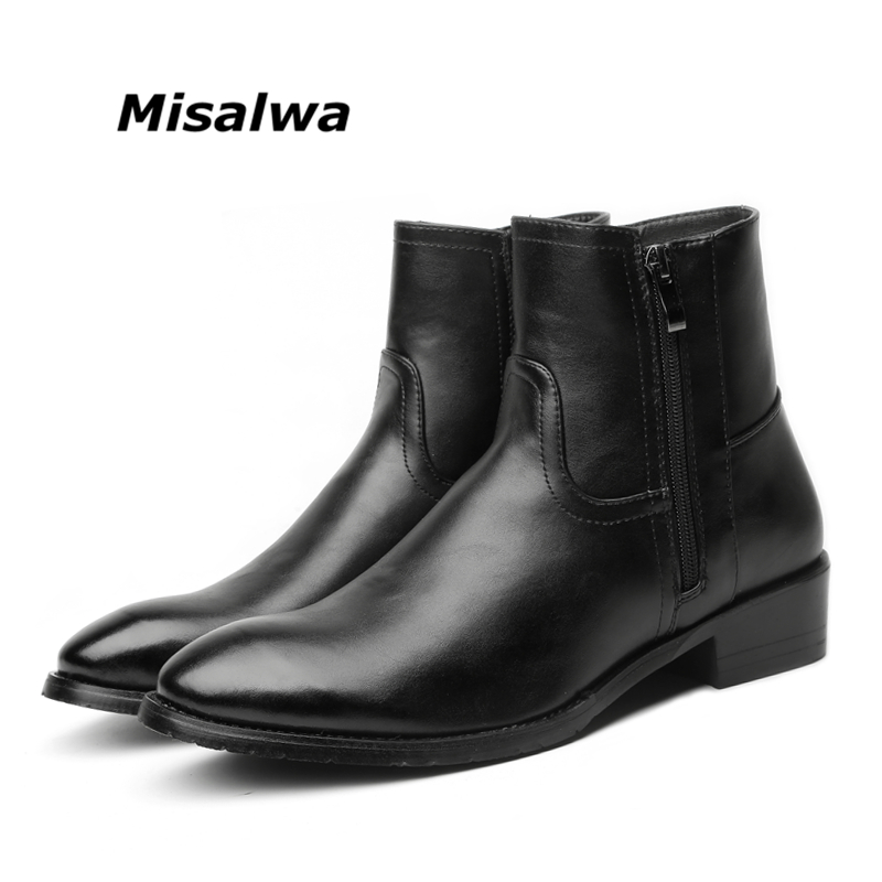 Misalwa Men Chelsea Boots Spring Winter Leather Boots Men High Double Zip British Men s Fashion