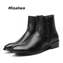 Misalwa Men Chelsea Boots Spring / Winter Leather Boots Men High Double Zip British Men's Fashion Boots Black Big Size 37-46