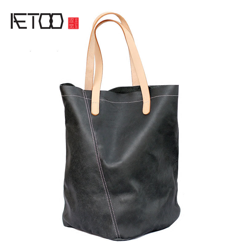 AETOO Europe and the United States leisure leather handbags simple style first class cowhide shoulder bag geometric irregular bu