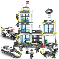 Legoinglys SWAT City Police Truck Building Blocks Sets Police Station Ship Helicopter Bricks Playmobil Toys for Children Creator