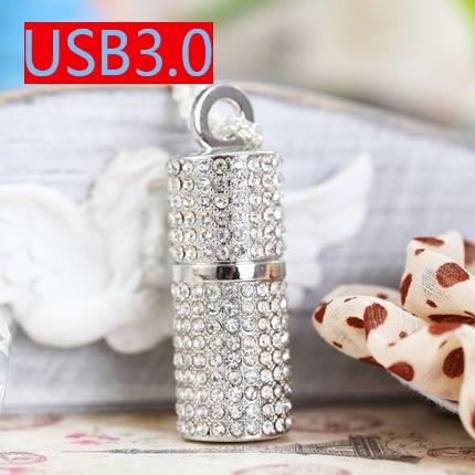 Silver Pink Blue Jewelry Crystal Usb Flash Drive 3.0 Necklace Chain 128GB 16GB 32GB Pen Drive 512GB Pendrive 64GB USB Stick Gift