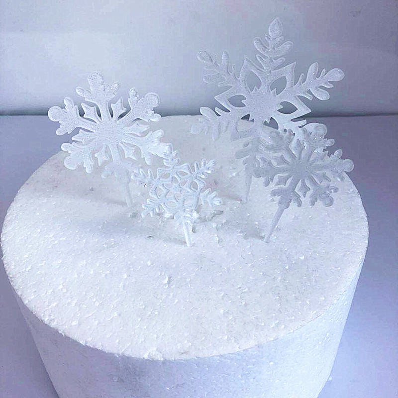 Image 2 - 4pcs Merry Christmas Acrylic Cake Topper Glitter White Snowflake Cupcake Topper For Christmas Party Cake Decorations Xmas 2019-in Cake Decorating Supplies from Home & Garden
