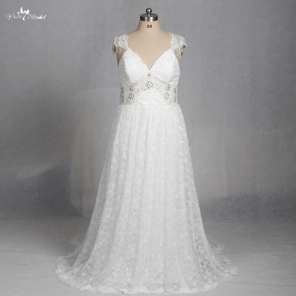 LZ176 Special Vestido De Noiva Plus Size Queen Anne Bow Beading Beach Dress Lace Bohemian Wedding Dress