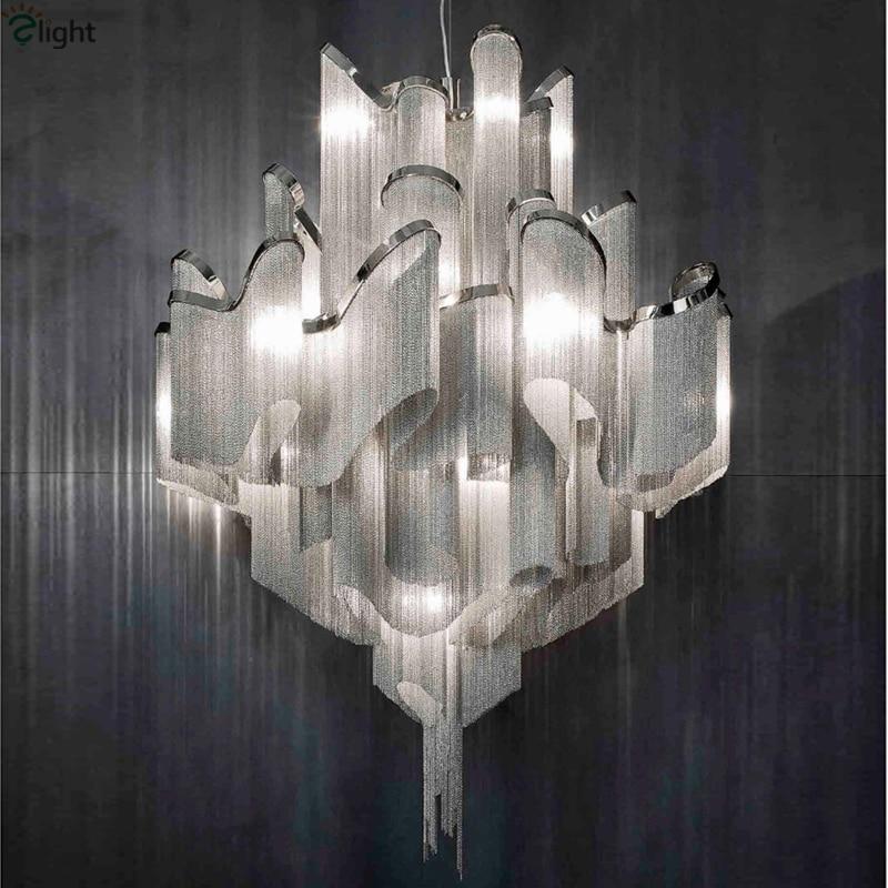 Post Modern Italy Stream Aluminium Tassel Led Pendant Light Villa Hotel Lustre Tassel E14 Lamparas Colgantes Hang Lamp