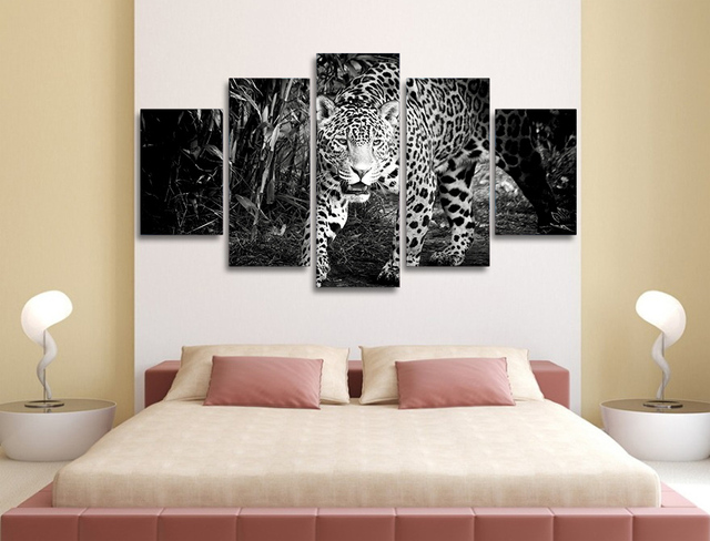 Merveilleux 5 Pcs Black And White Tiger Animal Oil Painting Cuadros Decoracion For Bedroom  Decor Art Wall