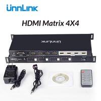 Unnlink HDMI Matrix 4x4 4K@30Hz 1080@60Hz Switch Splitter 4 Input 4 Output Matrix with RS232 IR Remote Control for HDTV box ps4