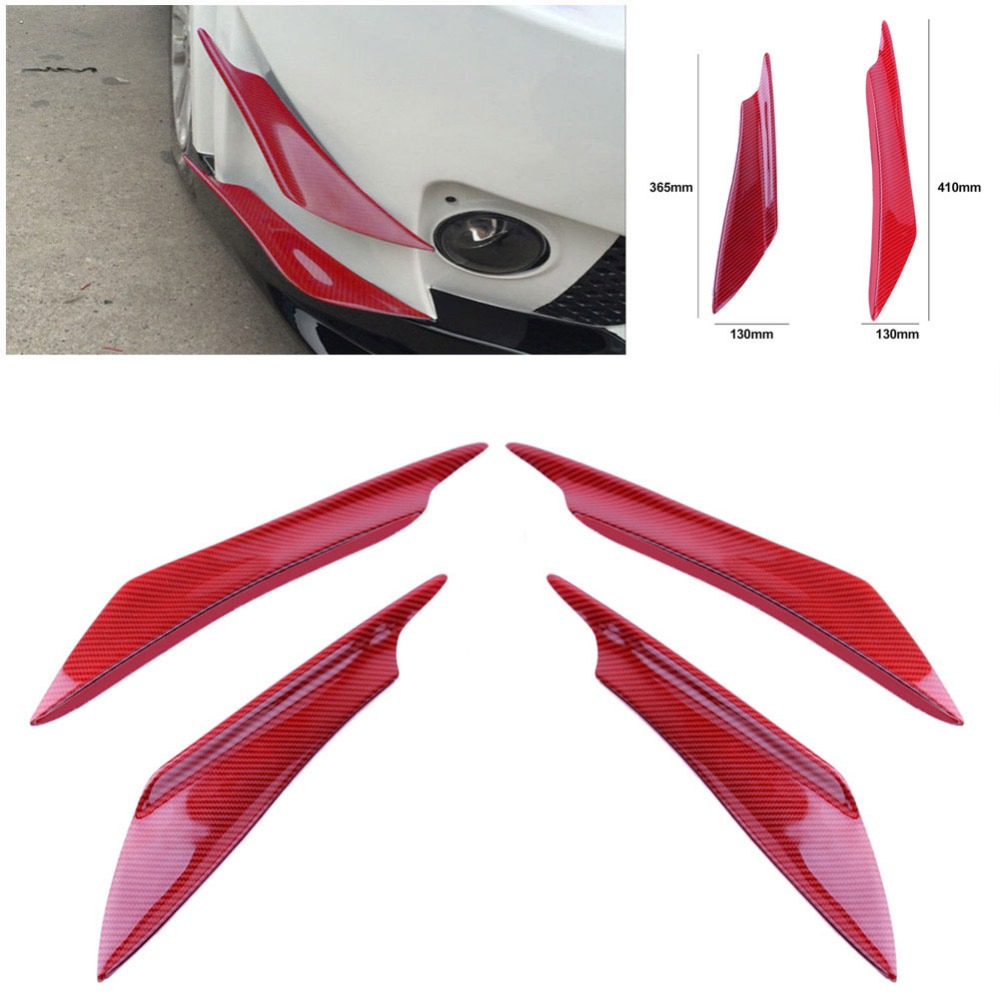 HOT Sale 4 Pcs Car Universal Red Color Carbon Fiber Fit Front Bumper Lip Splitter Fins Body Spoiler