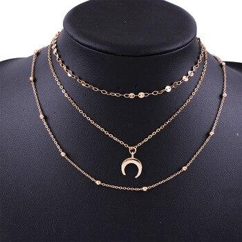 Collar multicapa sencillo para Mujeres gargantilla de Oro del Collar Collar de Luna Collar clav