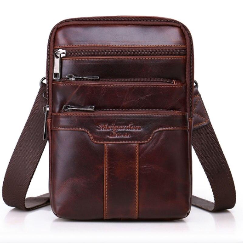 Мужская сумка на ремне из натуральной коровьей кожи, многофункциональная сумка из натуральной кожи с воском, Классическая сумка через плеч