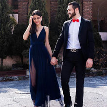 Bbonlinedress A Line Chiffon and Tulle Prom Dresses 2019 Sexy Deep V Neck Evening Dress Long Backless Party