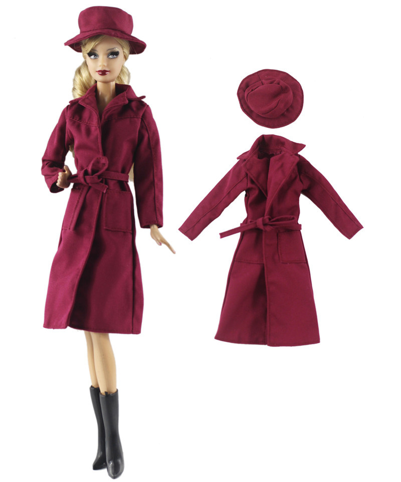 NK One Set Doll Dress Fashion Super Model Red Coat Modern Outfit Daily Wear Hat For Barbie Doll Accessories Gift Baby Toys 92C цена