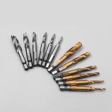 6pcs/Lot Twist Drill Bit Set 1/4 inch Hex Shank M3-M10 Titanium Coated HSS Drilling Tap Bits Thread Screw Tapping Tools