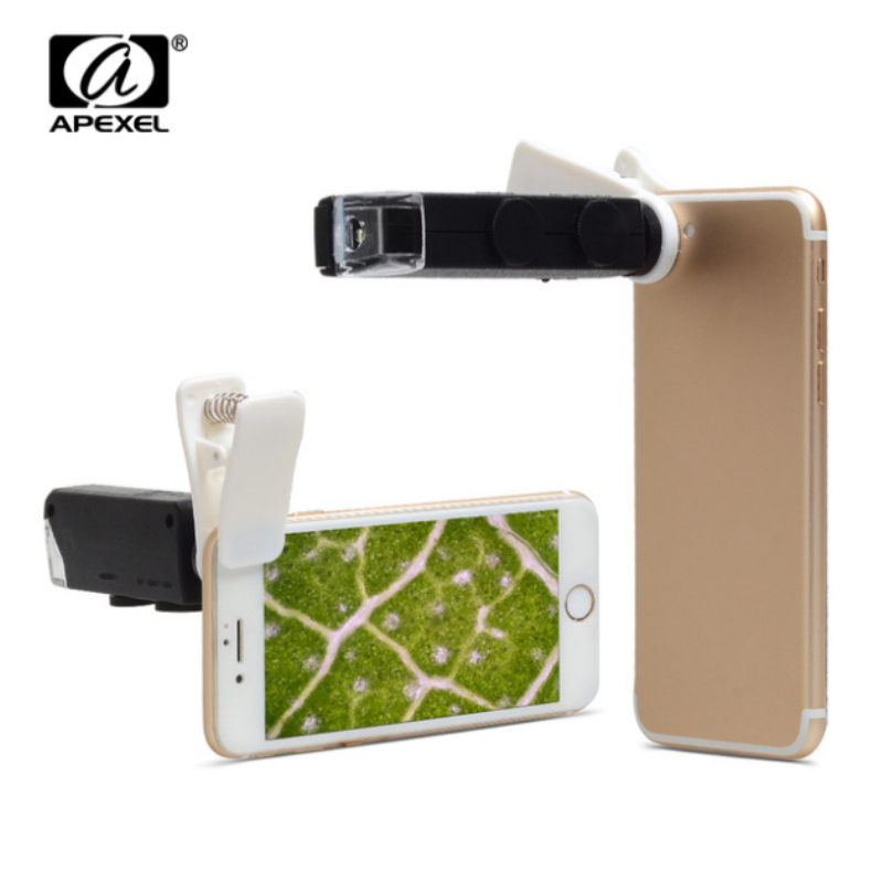 Universal Clip LED Microscope 60X-100X <font><b>Zoom</b></font> Magnifier Micro Mobile <font><b>Phone</b></font> Camera <font><b>Lens</b></font> For iPhone 6S Plus 5S Samsung Huawei CL-53