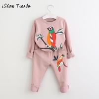 2017 Winter Warm Suit Toddler Kids Baby Girl Outfit Clothes Printing Long Sleeve T Shirt Long