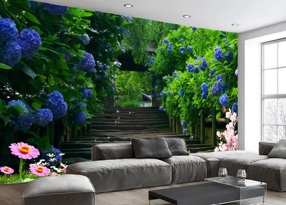 custom 3d murals wallpaper for living room non-woven wallpaper Flower vine blue rose path 3D photo wallpaper papel de parede 3d xchelda custom 3d wallpaper design buds and butterflies photo kitchen bedroom living room wall murals papel de parede