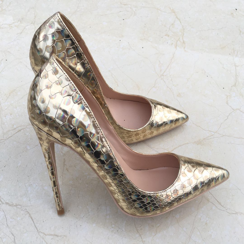 2018 new gold size 35 43 high heeled lady pumps shallow pointed toe woman shoes party shoes slip on PU leather wedding shoes-in Women's Pumps from Shoes    1