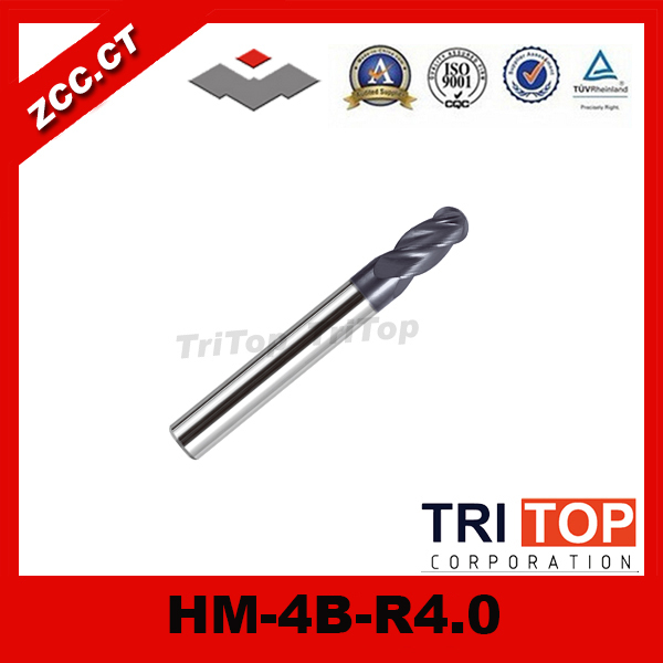 high-hardness steel machining series ZCC.CT HM/HMX-4B-R4.0 Solid carbide 4-flute ball nose end mills with straight shank caroline biss