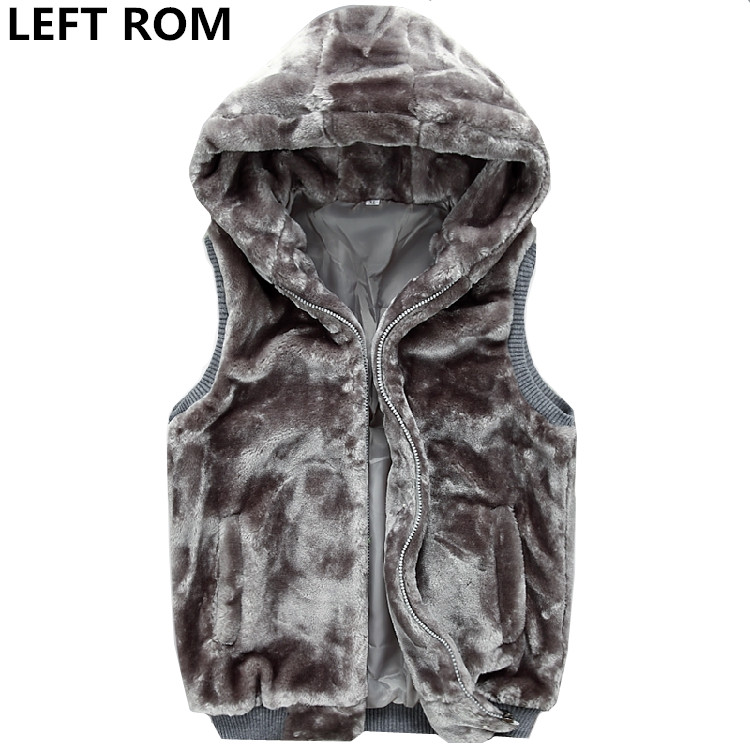 LEFT ROM 2018 Fashion male Winter velvet To keep warm casual cardigan with a hoodies/men's slim Fit Thickening Sleeveless jacket