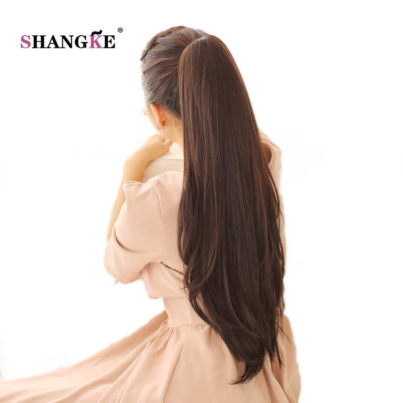 SHANGKE 24'' Long Straight Ponytail Claw Drawstring Ponytail Synthetic Heat Resistant Clip In Hair Extensions