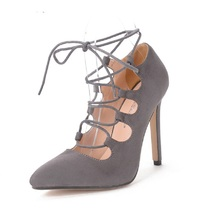 package11CM high-heeled Shoes Fashion Sexy Stiletto Hollow Cross Strap High Heels Women's Pumps Pointed Toe Shoes