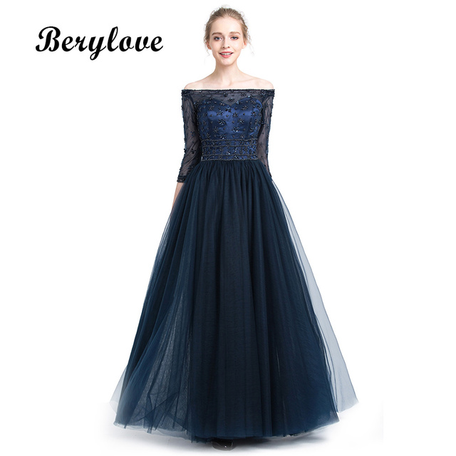 d78cc39732b BeryLove Long Dark Navy Blue Evening Dresses 2018 Beaded Off Shoulder  Evening Dress With Sleeves Long