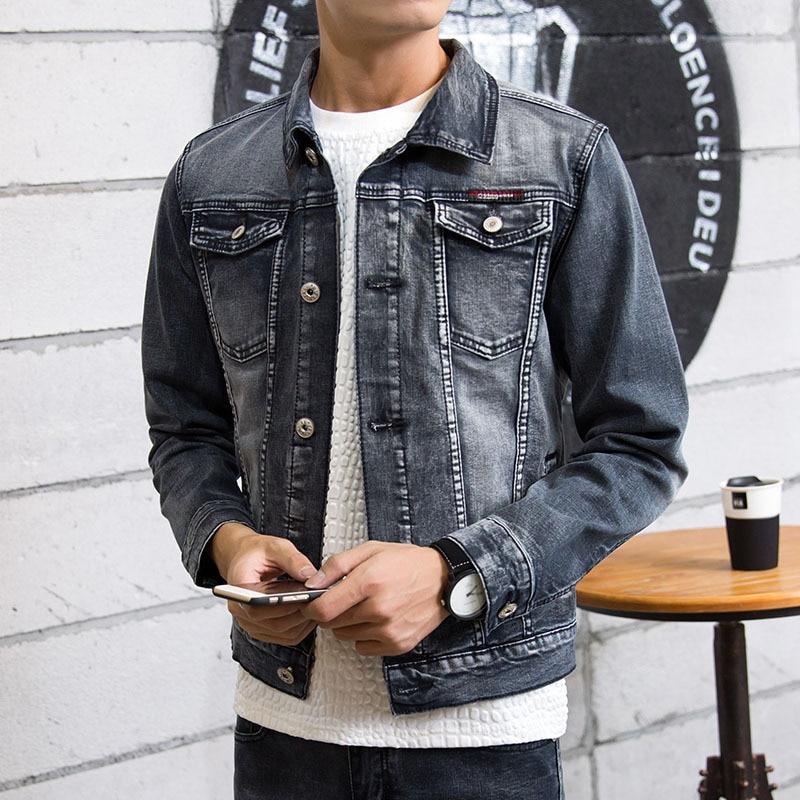 2018 men grey denim jacket Long sleeve youth retro fashion denim jacket