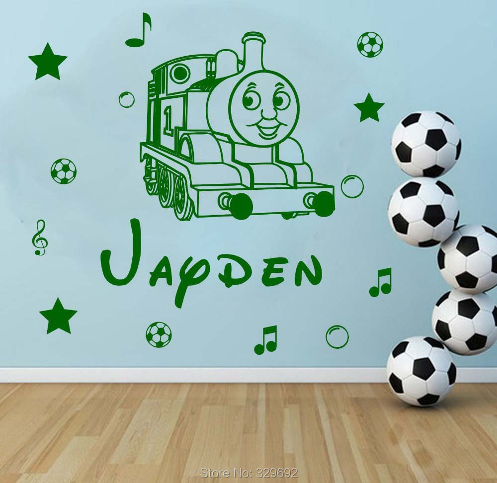 Free Shipping Personalised Name Thomas The Train Kids Wall Sticker Vinyl  Decal For Children Nursery Room