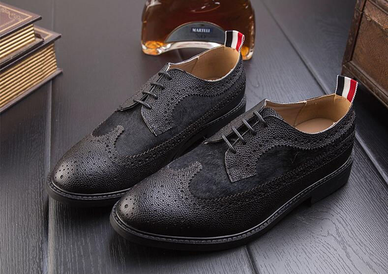 Brogue shoes men lace up genuine leather pointed toes vintage patchwork smart casual shoes carved brogue breathable moccasins men s brogue shoes fashion brown pointed toe leather shoes breathable lace up men casual shoes moccasins size 38 43 8205m