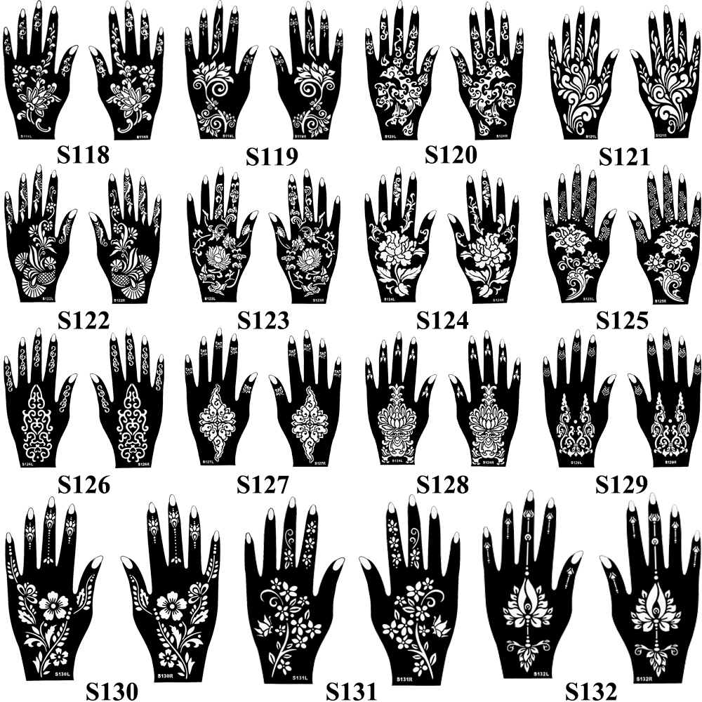 1 Pair Henna Tattoo Stencil Waterproof Flower Pattern Design Hands Mehndi for Painting Beauty Woman Body Art Tattoo Stencil S123