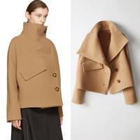 autumn Winter Women turtleneck Cape Cloak Coat Loose Woolen Coat Jacket Windbreaker Thick bat sleeve wool blend coat