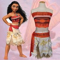 2017 Women Kids Movie Moana Princess Dress Cosplay Costume Princess Vaiana Costume Skirt