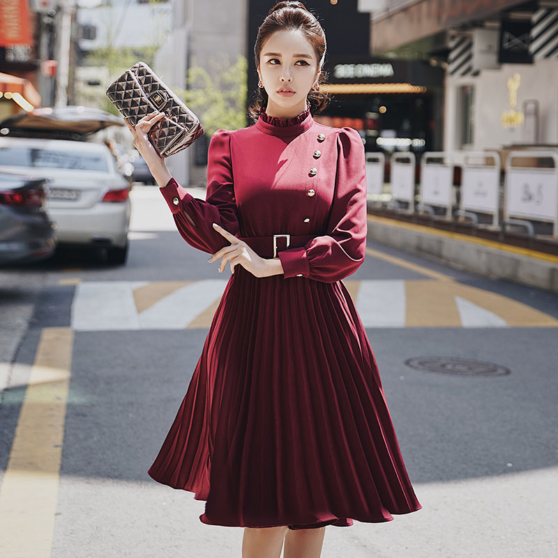 Dabuwawa Spring New Pleated Midi Dress for office Lady Girls Women 2019 Long Sleeve Slim Elegant