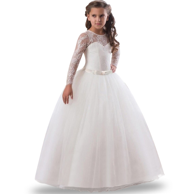 ccfd0f201518 Lace Flower Girl Long Dress birthday Party Kids Clothes Party Dresses For Girl  Frocks Children's Costume Teenage Girl Ceremony