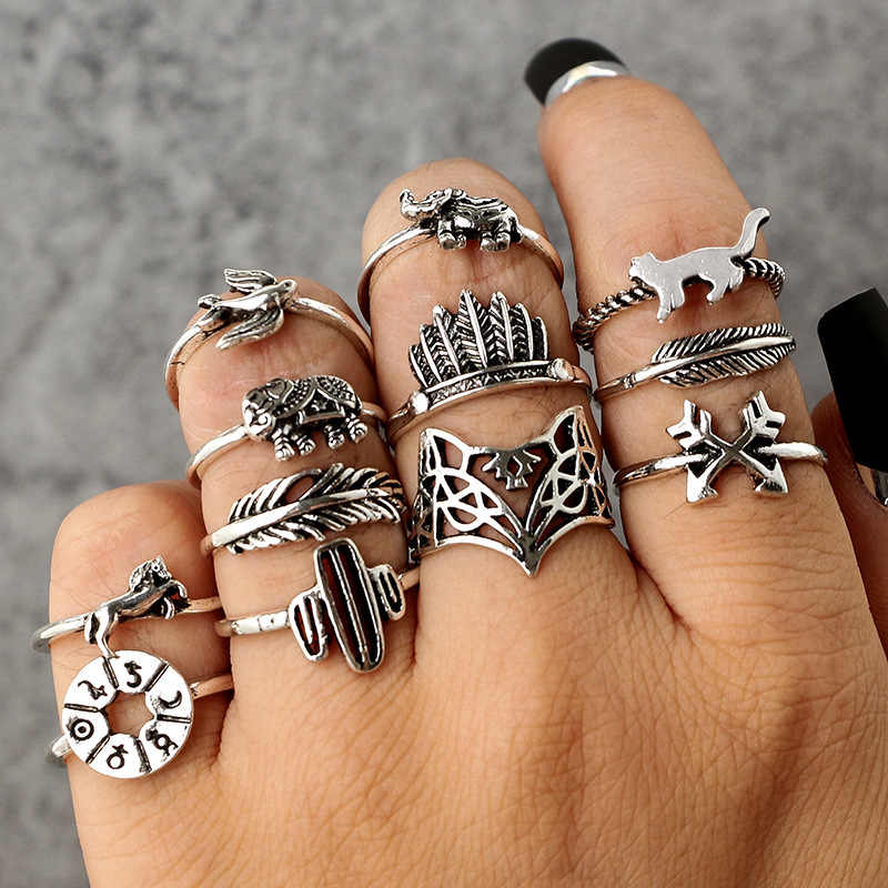 High Quality old Vintage 12 pcs/ set Cactus Elephant Fox Rings Set Bohemia Hollow Bird Lion Shape Carved Midi Finger Rings Set