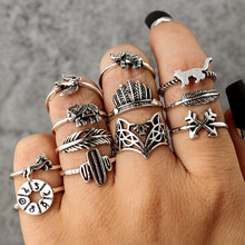 High Quality old Vintage 12 pcs/ set Cactus Elephant Fox Rings Set Bohemia Hollow Bird Lion Shape Carved Midi Finger Rings Set(China)