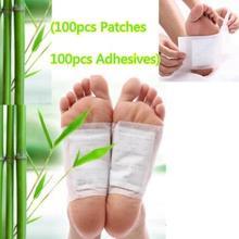 200 шт./лот, 100 шт пластырей+ 100 шт клея, золото/белый детоксикационный пластырь для ног, бамбуковые органические травяные очищающие Пластыри для ног, потеря веса