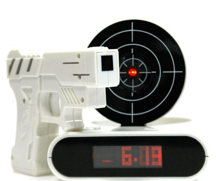 Novelty Toy Gun Alarm Clock Camouflage Army Shooting Toys Lazy Student Mute Digtal In Clocks From Home Garden On