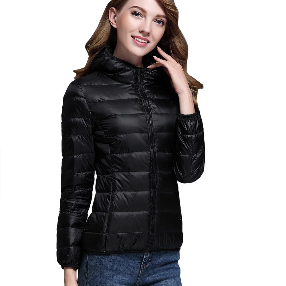 woman coats winter 2018 Women Ultra Light Puffer Jacket Solid Hooded Zippers Puffer Coat Down jacket Ladies   parkas   outwear