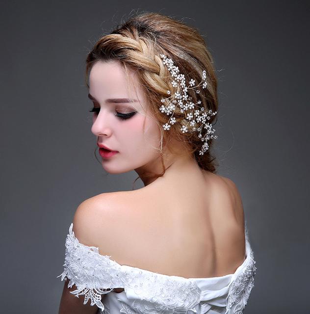 2016 Noiva de Cabelo Fascinator Acessórios de Noiva Contas De Cristal Elegante da Festa de Senhoras Desgaste Barato Modest Real Imagem