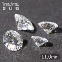 TransGems 1 шт. 11 мм 5 карат Сертифицированный F бесцветный Муассанит свободная лаборатория выращенная Алмазная бусина тест как настоящий брилли