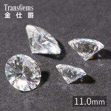 лучшая цена 11mm TRANSGEMS Certified DEF Colorless Round Brilliant Cut Moissanite Loose Test As Real Diamonds Stunning Moissanite Gemstone