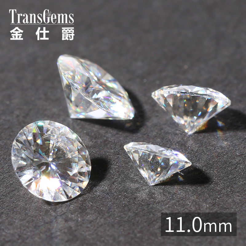 TransGems 11mm 5 Carat Certified F Colorless Moissanite Loose Lab Grown Diamond Bead Test As Real Diamond Gemstone transgems 1 carat lab grown moissanite diamond solitaire wedding band for man brilliant solid 18k two tone gold gentle dcc031