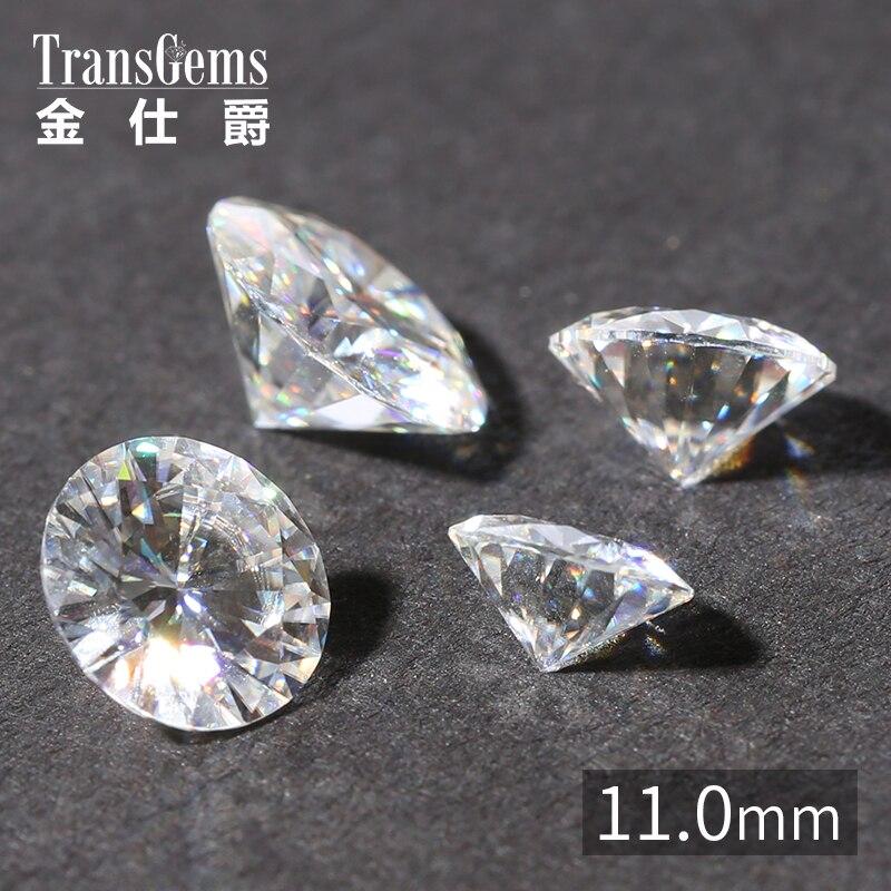 Transgemmes 1 pièce 11mm 5 Carat certifié F Moissanite incolore en vrac Test de perles de diamant cultivé en laboratoire comme véritable pierre précieuse de diamant