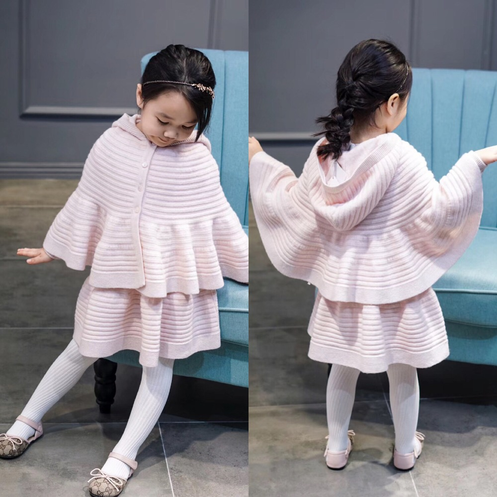 Girls Set knitted Cloak + long sleeve sweater dress wool cotton knitted sweater dress with outwear set boutique girls costume 2018 new arrival casual style long knitted dresses women round neck three quarter sleeve patchwork women knitted sweater dress