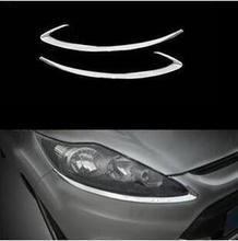 For Ford Fiesta generation 2009-2012 ABS Chrome Front headlight Lamp Cover shade eyebrows trim 2pcs стоимость