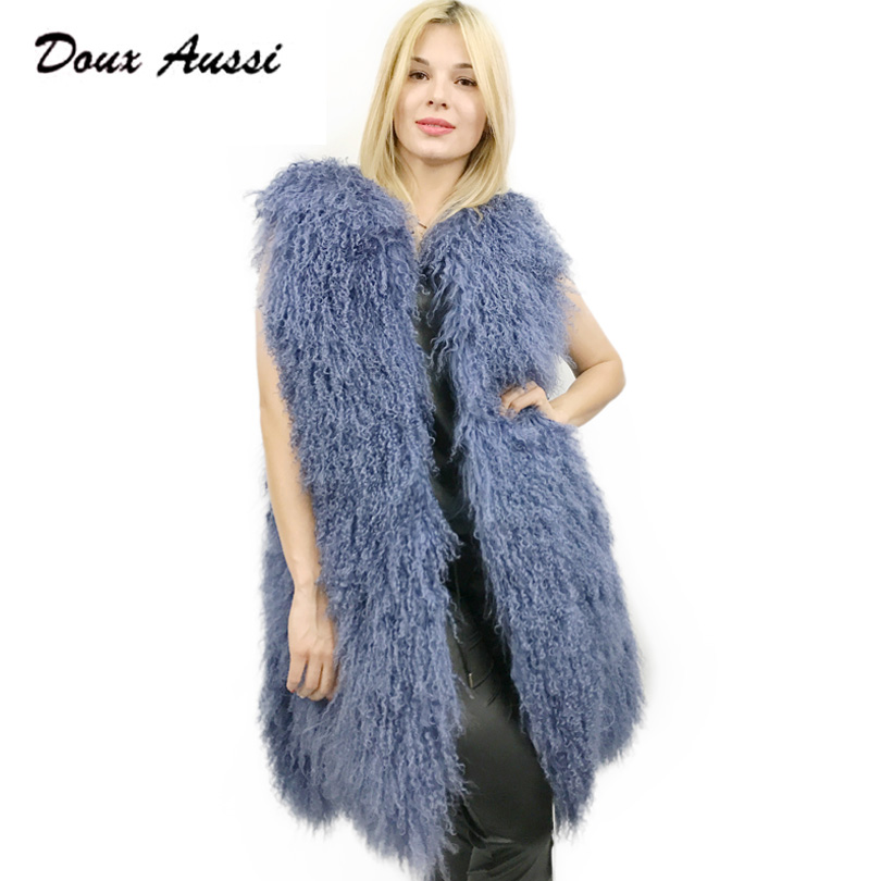 DOUX AUSSI Mongolian Lamb Jacket Coats For Lady Real Lamb Skin Women Autumn Solid Blue Full Pelt Mongolian Sheepskin Waistcoat