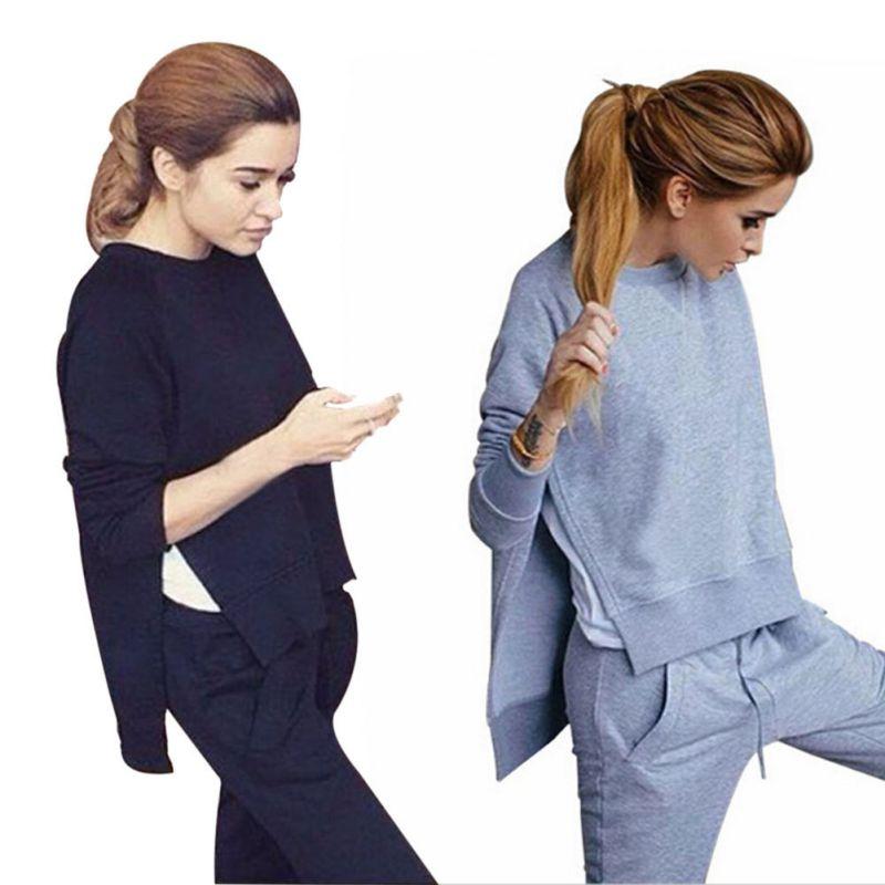 Hoodies Women Tops & Pants Casual Solid Sweatshirt Sweat Suits Irregular Hoodies Set New