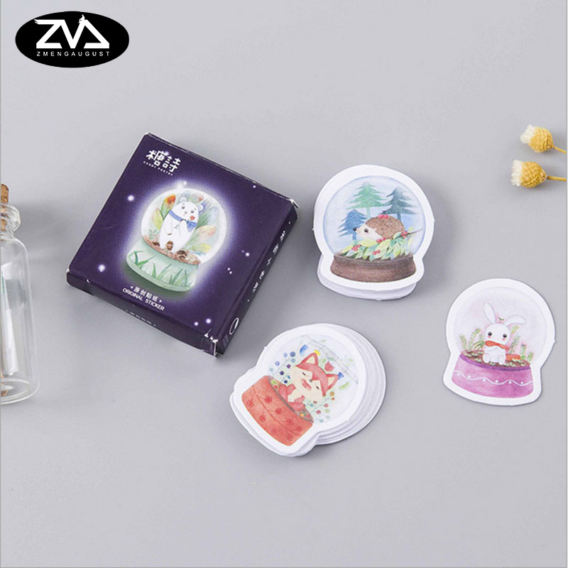 45Pcs/box My little world Paper Decoration DIY Scrapbook Notebook Album seal Sticker Stationery Kawaii Girl Label Stickers 45 pcs box classical chinese style stickers diy album adhesive paper scrapbook notebook decoration sticker stationery kids gifts