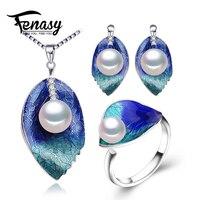 FENASY Parel Sieraden sets 925 Sterling Zilveren oorbellen, natuurlijke Parel blad ketting voor vrouwen liefde Cloisonne oorbellen ring