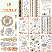 12 Sheets Lot 21x10cm Tattoo Stickers Body Art Temporary Tattoo Kit Waterproof Glitter Silver Gold Feather Tattoos Set BMTLOT2